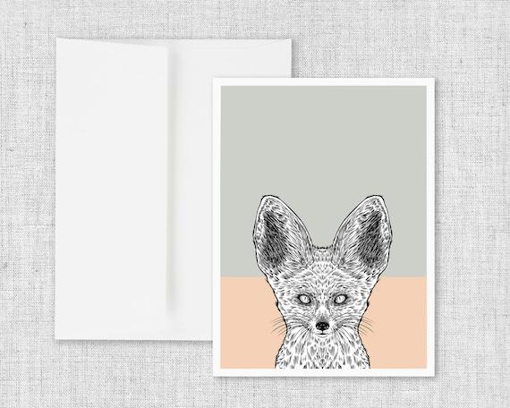 Fennec Fox Portrait - blank greeting card with envelope