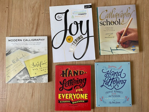 5 Hand Lettering and Calligraphy Books!  Beginners library!