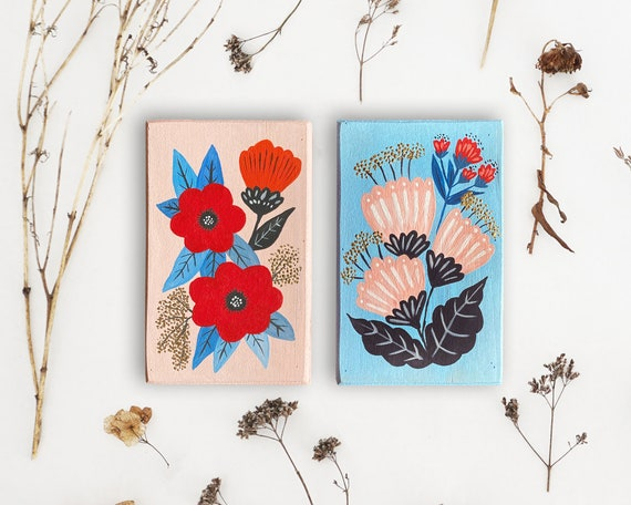 Original Floral Paintings on Wood - set of 2