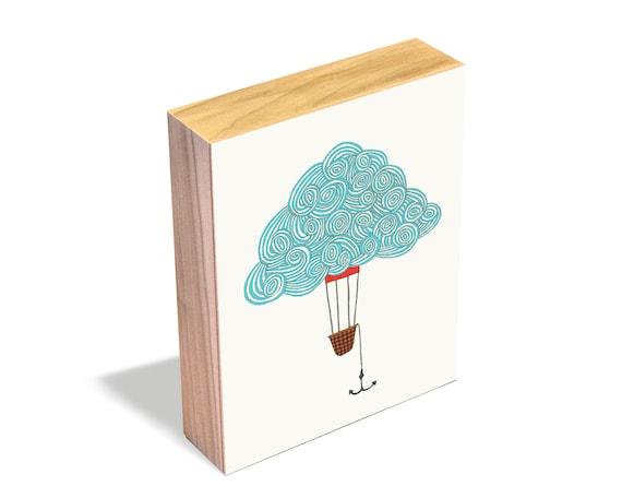 Cloud Balloon No. 1 - Wood Art Block