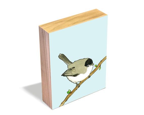 Black-tailed Gnatcatcher - Wood Art Block