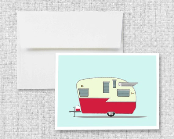Shasta Airflyte - greeting card, blank greeting card, greeting card set, vintage camper, retro camper, vintage trailer, retro trailer, art