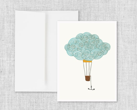 Cloud Balloon No. 2 - Greeting Card