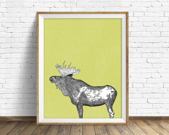 "moose, moose print, moose art, wall art, large art, large wall art, north american animals, woodland nursery, nursery wall art, art -""Moose"""