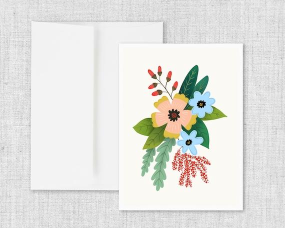 Folk Art Flowers No. 4 - Floral Greeting Card