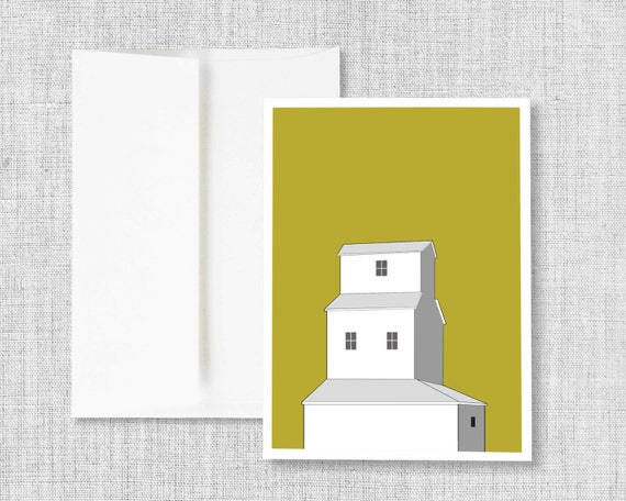 "greeting card, blank greeting card, greeting card set, greeting cards handmade, drawing, grain elevator, yellow - ""Sunset Grain Elevator"""