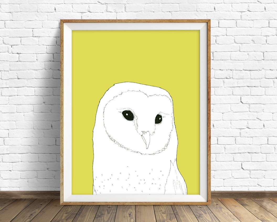 Barn Owl - woodland nursery, woodland, owl, drawing, yellow, white ...