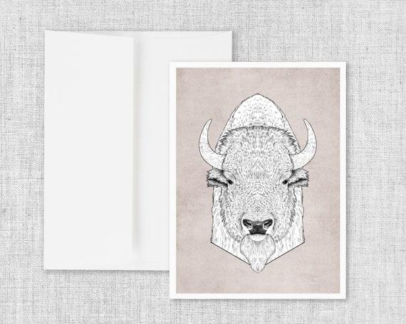 """Bison Portrait"" - blank greeting card"