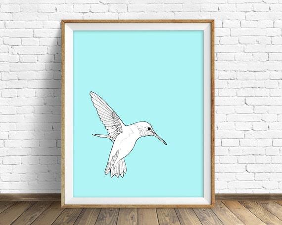 "hummingbird, hummingbird print, wall art, art print, large art, large wall art, pastel blue, nature prints, nursery wall art - ""Hummingbird"""