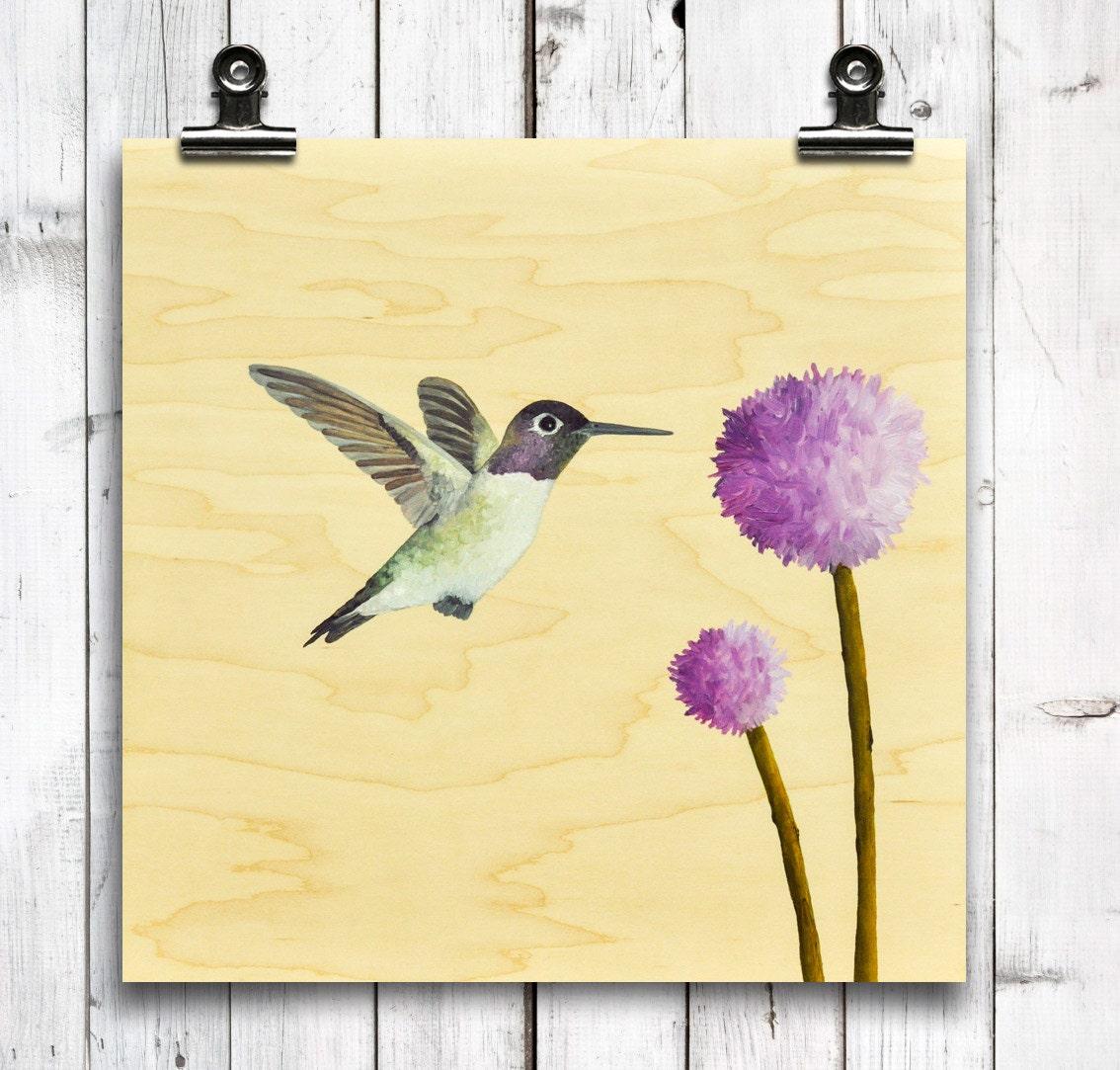 Hummingbird - art print, square art print, wood wall art, large art ...