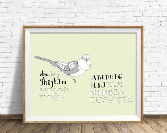 "nursery wall art, alphabet, woodland nursery, wall art, large wall art, large art, bird, drawing, kids room decor, art - ""Sketchbook Birdie"""