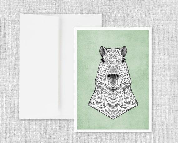 """Capybara"" - blank greeting card"