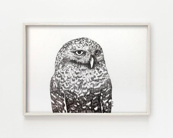 """Snowy Owl"" - original ink drawing"