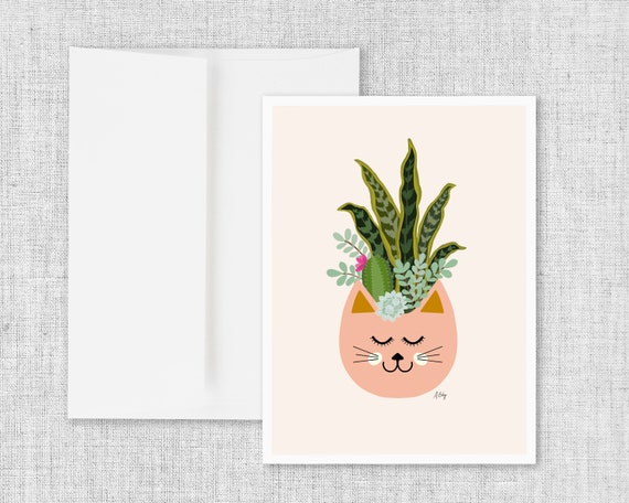 Cats and Plants - Greeting Card