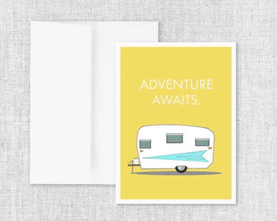 "greeting card, blank greeting card, greeting card set, vintage camper greeting card, modern greeting card, retro camper - ""Adventure Awaits"""