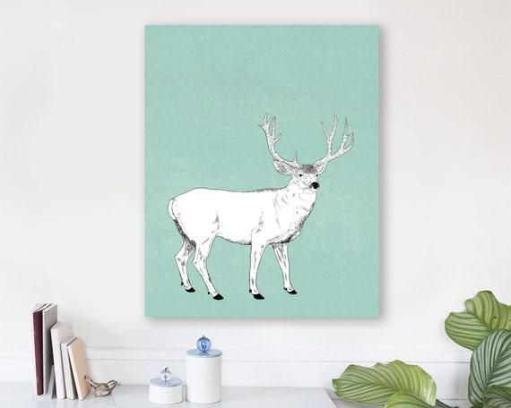 large modern wall art on canvas, minimalist fine art, colorful modern wall art, deer wall art, antler wall art, woodland nursery art - Buck