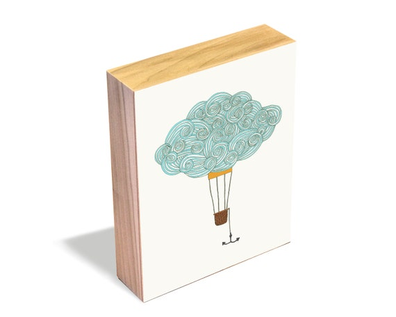 Cloud Balloon No. 2 - Wood Art Block