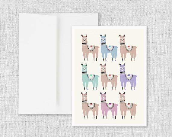 Alpaca Stack - Greeting Card