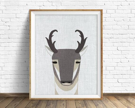 Pronghorn Antelope - art print, large art, mid century modern wall art, art for kids, nursery decor, nursery wall art, woodland nursery