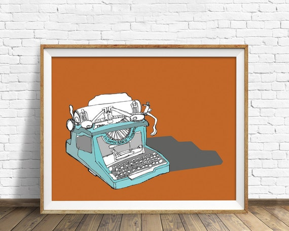 "vintage typewriter, art print, wall art, fine art print, large art, large wall art, mid century modern, drawing - ""Sketchbook Typewriter"""