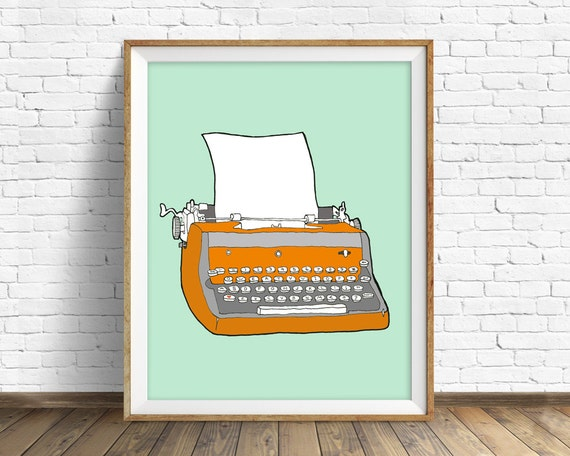 "vintage typewriter, drawing, mid century modern, modern colorful, large art, large wall art, mint, orange, art - ""Vintage Typewriter No. 7"""
