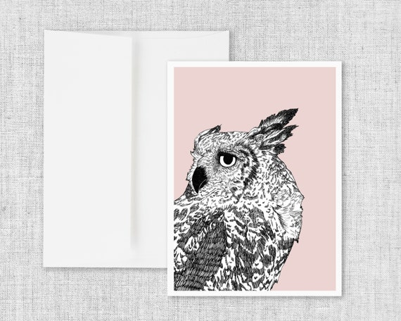 Dreaming of Full Moons - Owl Greeting Card and Envelope