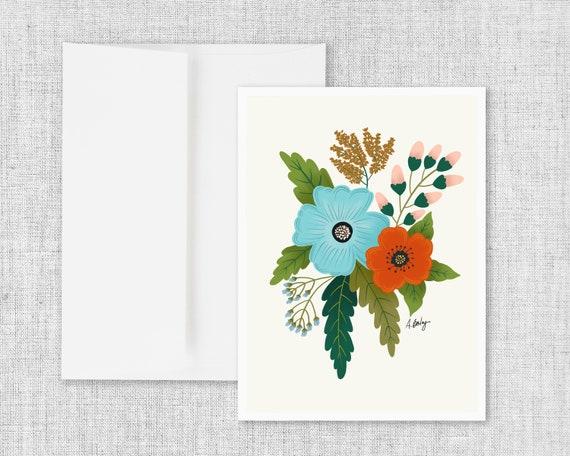 Folk Art Flowers No. 5 - Floral Greeting Card