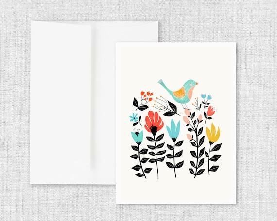Folk Art Garden - Blank Greeting Card