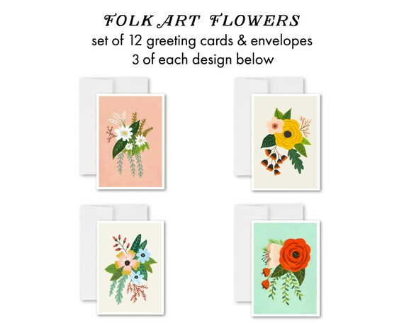 Folk Art Flowers - greeting card set