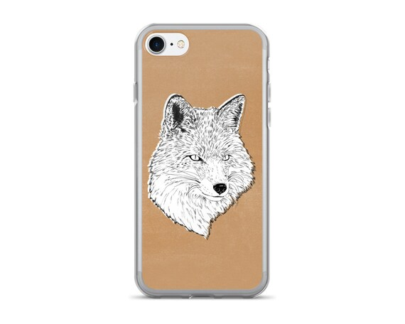 "cell phone case, iphone 6, iphone 6 plus, iphone 7, fox, black and white, modern, cell phone, woodland animals, fox art - ""Roxy the Fox"""