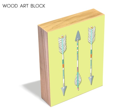 Arrows Trio - Wood Art Block