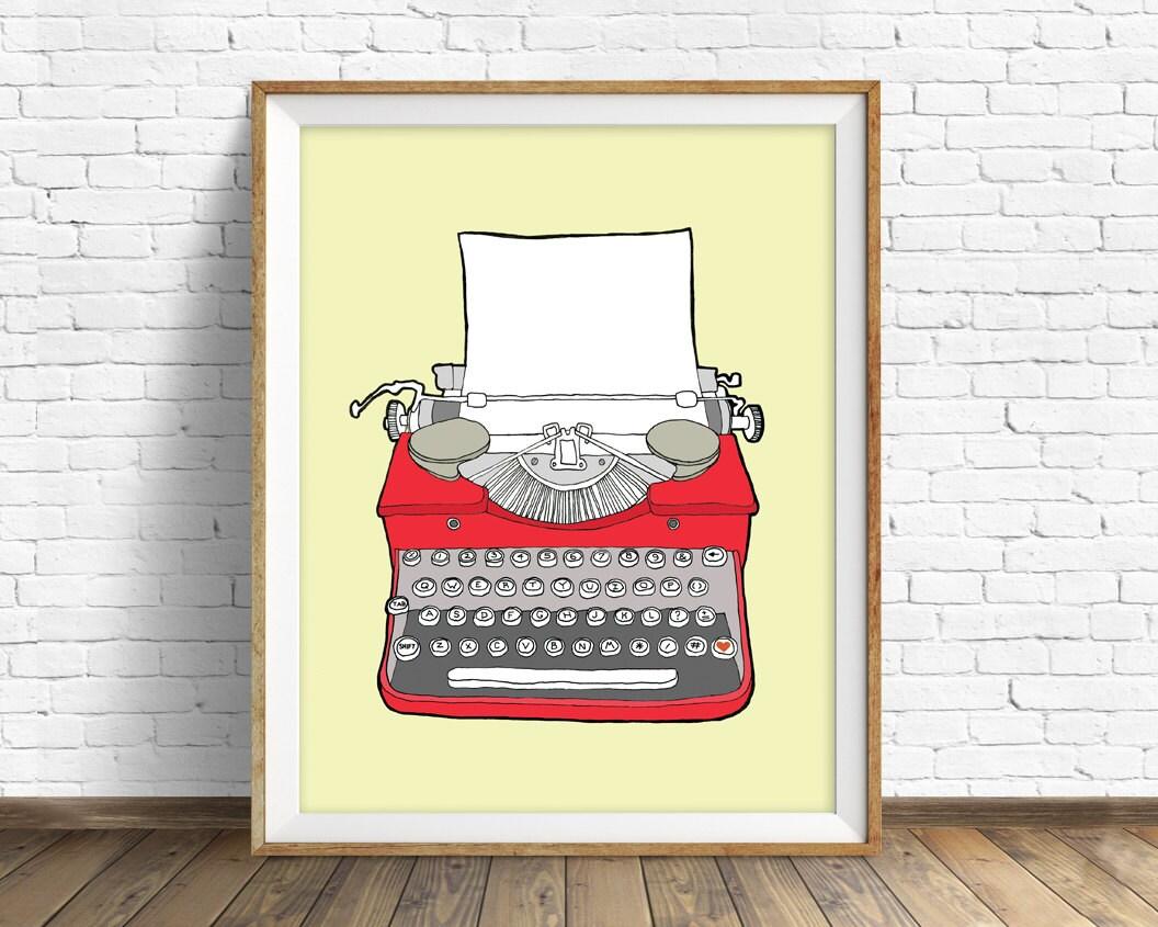 drawing, vintage typewriter, large wall art, modern home decor, mid ...