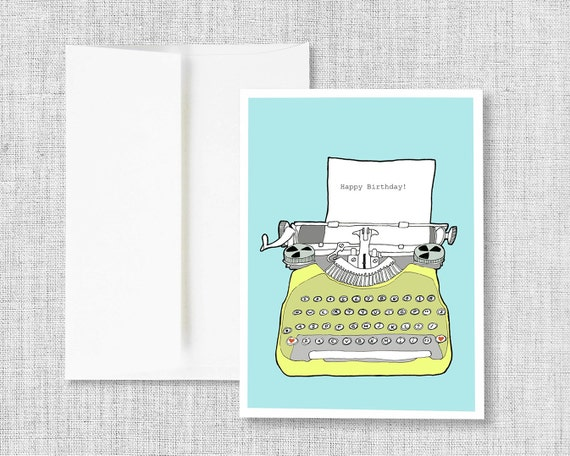 birthday card, greeting card, vintage typewriter, blank greeting card, handmade card, typewriter drawing, typewriter greeting card, birthday