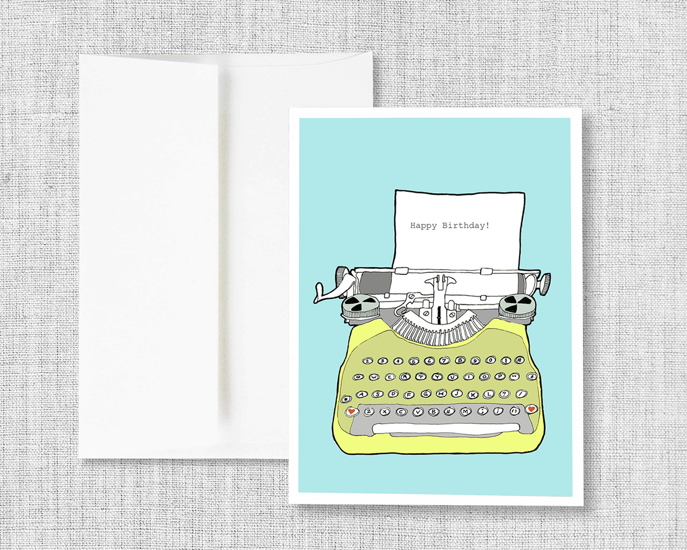 Birthday Card Greeting Vintage Typewriter Blank