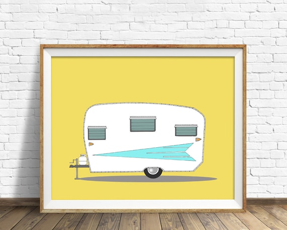"vintage camper, mid century modern, camper, large wall art, orange, aqua, modern home decor, modern wall art - ""Vintage Roadrunner, 1962"""