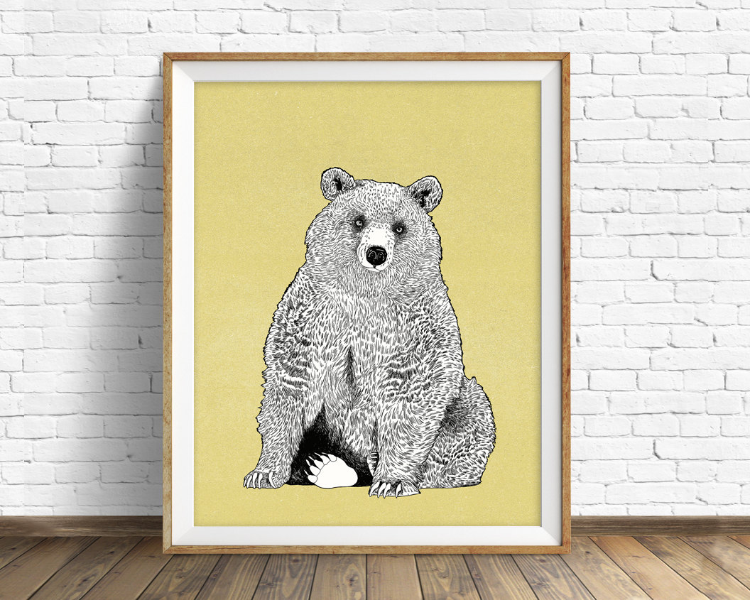 art print, grizzly bear, bear drawing, woodland animals, large art ...