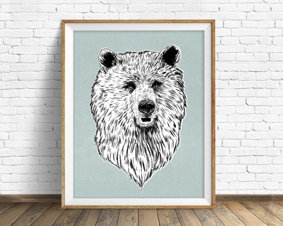 "drawing, bear, grizzly, wall art, large art, large wall art, woodland animals, fine art print, modern, contemporary, art -""Harry the Bear"""
