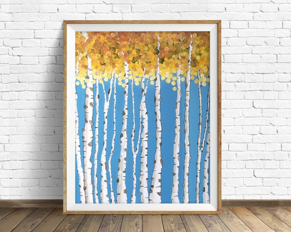 "aspen tree, aspen tree art, aspen leaf, art print, large art, large wall art, nature print, fall leaves, wall decor, art  - ""Turning Point"""