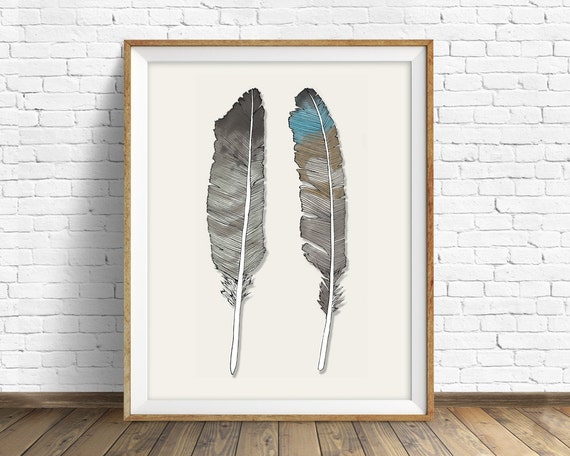 "feathers, feather drawing, orange, white, gray, minimalist drawing, large wall art, modern decor, wall art, wall deco, art - ""Birds of Prey"""