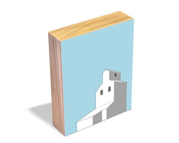 Country Grain Elevator - Wood Art Block