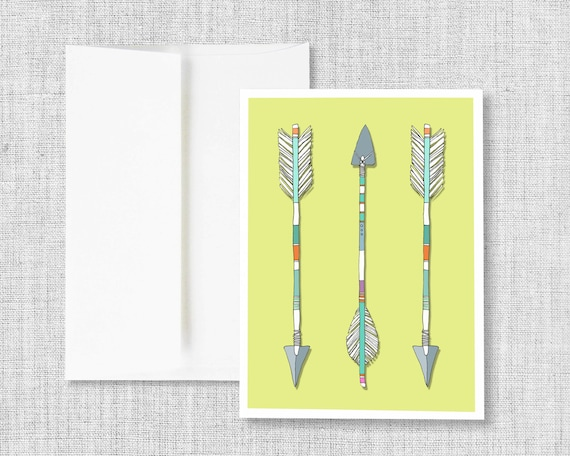 "greeting card, blank greeting card, greeting card set, arrows, indian arrows, three arrows, green, tribal, drawing, feathers - ""Arrows Trio"""