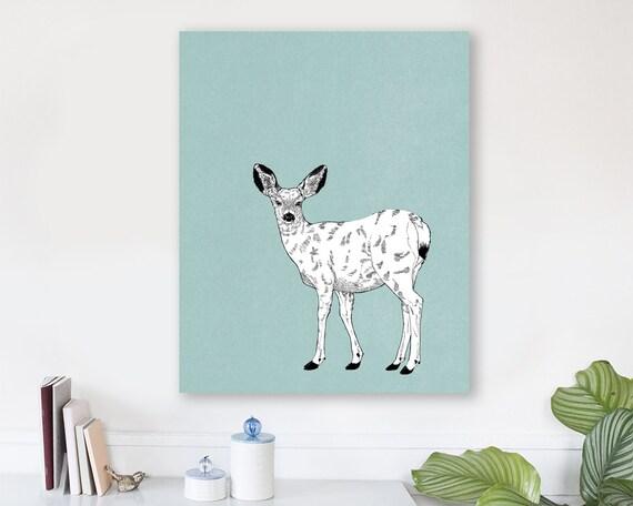 large modern wall art on canvas, minimalist fine art, colorful modern wall art, deer wall art, deer art prints, woodland nursery art - Doe