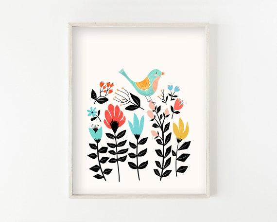 """""""Folk Art Garden"""" - wall art print"""