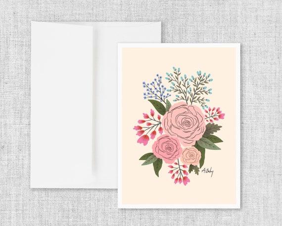 Blushy Bouquet - Greeting Card