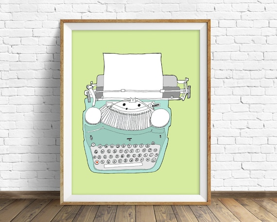 "vintage typewriter, drawing, art print, colorful modern, large art, large wall art, mid century modern, prints - ""Vintage Typewriter No. 5"""