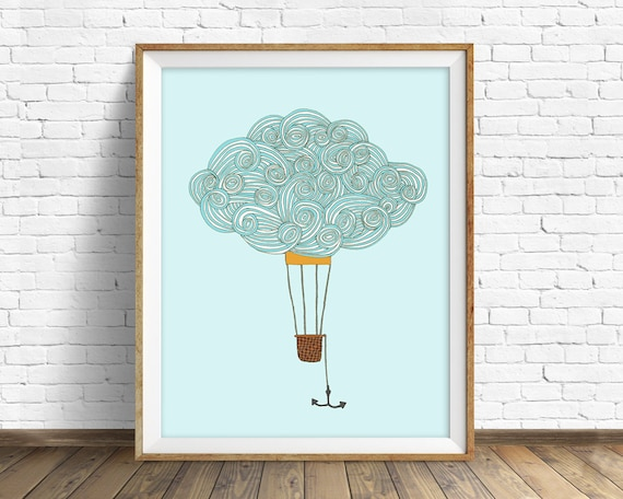 "cloud drawing, cloud art print, large art, large wall art, nursery wall art, nursery cloud art, blue, colorful, print - ""Balloon Cloud No 2"""