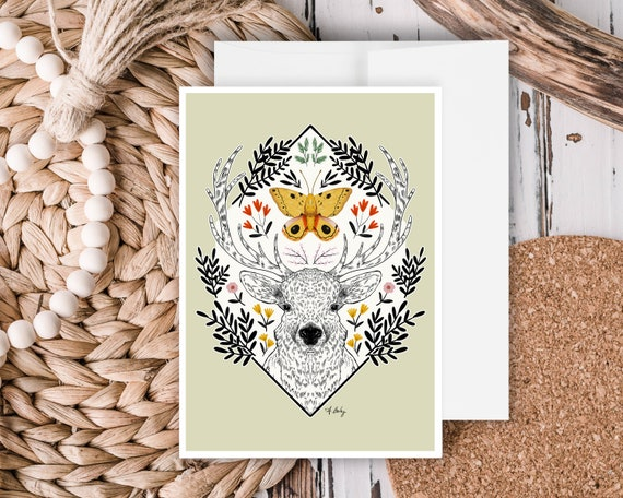 """Elk and Io Moth"" - Greeting Card"