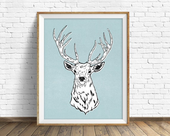 "drawing, elk, antlers, wall art, large art, large wall art, woodland animals, fine art print, modern, contemporary, prints -""Edward the Elk"""