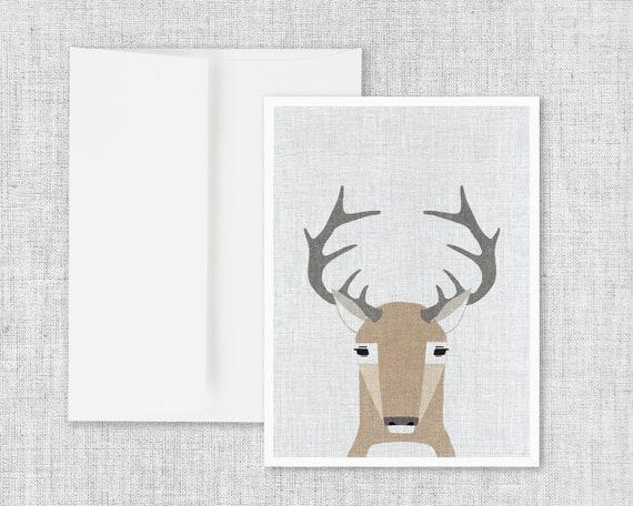 Modern Animals Deer - Greeting Card and Envelope