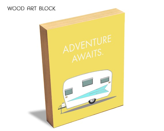 Adventure Awaits - Wood Art Block